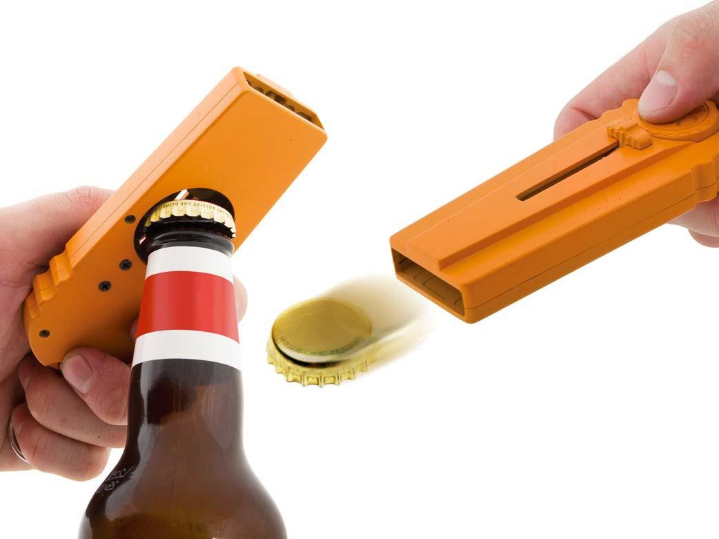 cap zappa bottle opener launching beer caps. Black Bedroom Furniture Sets. Home Design Ideas