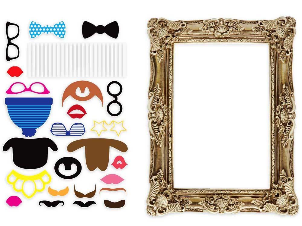 kit d 39 accessoires pour photo avec cadre photo booth accessoires. Black Bedroom Furniture Sets. Home Design Ideas
