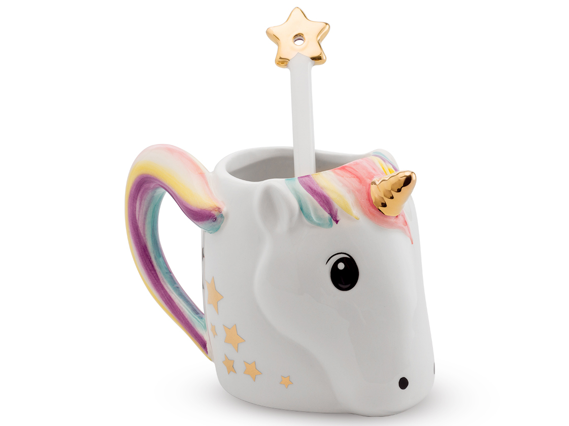 unicorn mug with spoon. Black Bedroom Furniture Sets. Home Design Ideas