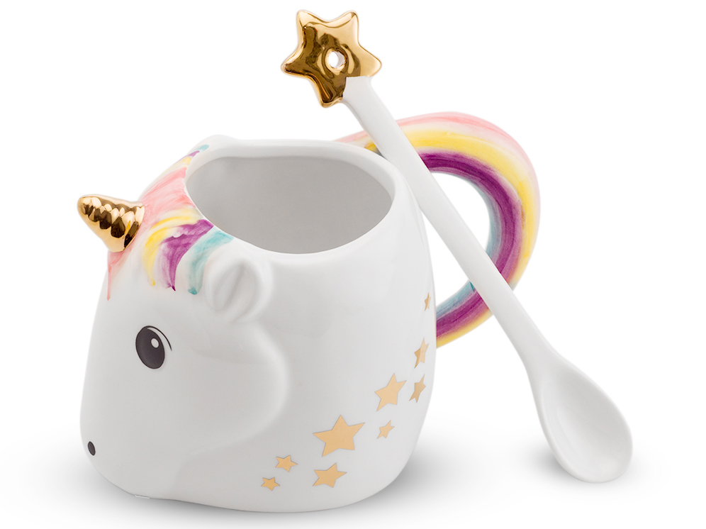 einhorn tasse mit l ffel unicorn mug. Black Bedroom Furniture Sets. Home Design Ideas