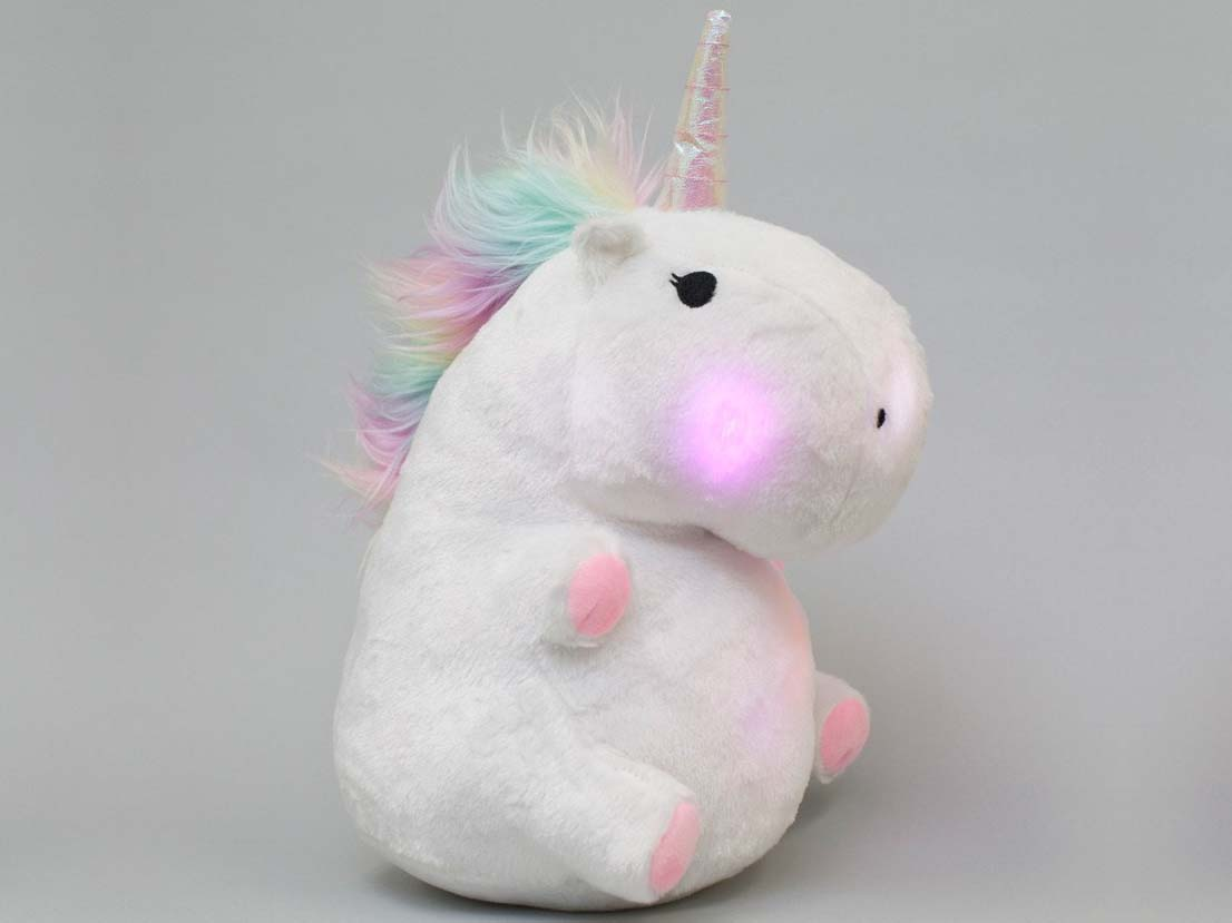 leuchtendes einhorn kissen unicorn glowing led pillow. Black Bedroom Furniture Sets. Home Design Ideas